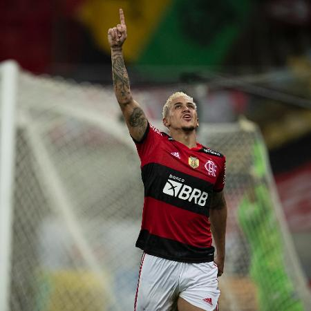 Pedro jogador do Flamengo comemora seu gol durante partida contra o Palmeiras  - Jorge Rodrigues/AGIF