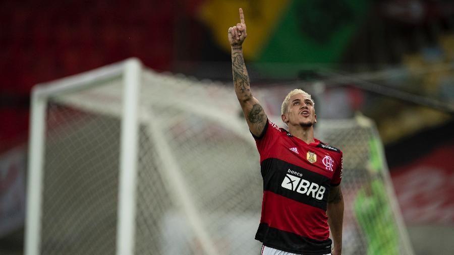 Pedro, jogador do Flamengo, comemora seu gol durante partida contra o Palmeiras  - Jorge Rodrigues/AGIF