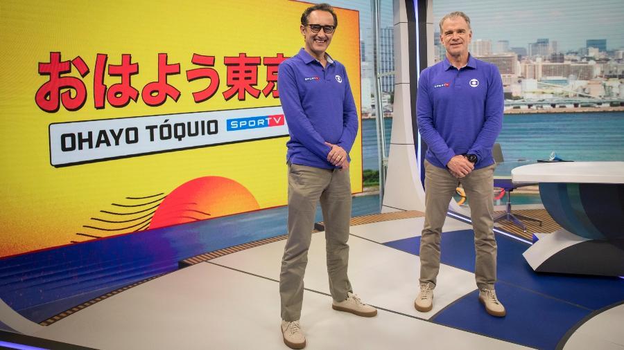 """Marcelo Barreto e Bernardinho apresentam o """"Ohayo Tóquio"""", no SporTV - Globo/João Cotta"""