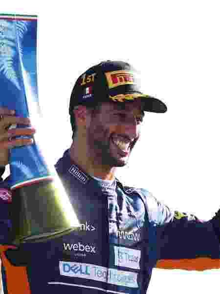 12.09.21 Danniel Ricciardo, da McLaren, celebra vitória no GP de Monza - Lars Baron/Getty Images - Lars Baron/Getty Images
