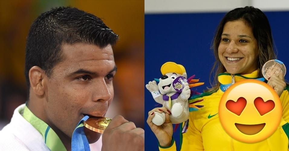 Momento Ownnnnn! O judoca Luciano Correa ganhou ouro no mesmo dia que a nadadora Joanna Maranhão faturou o bronze. Até aí, nada demais. Mas os dois são namorados