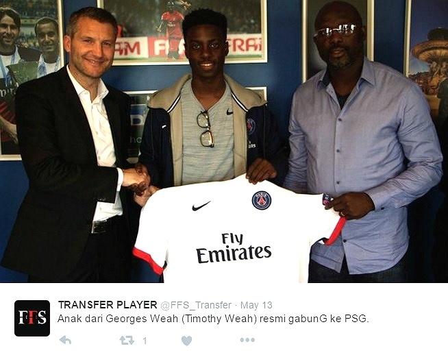 Timothy Weah, filho de George Weah, assina contrato profissional com o PSG