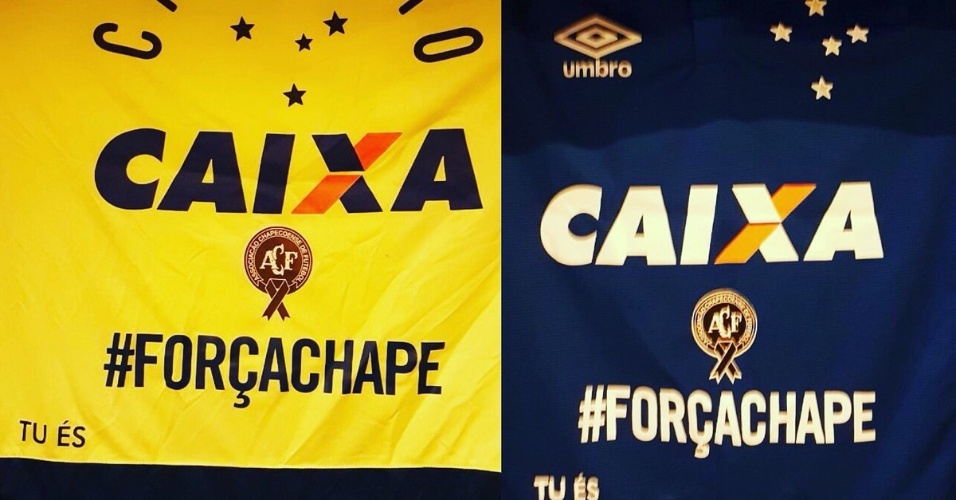 Contra o Corinthians, camisas do Cruzeiro trazem distintivo da Chapecoense e hashtag de incentivo à equipe catarinense