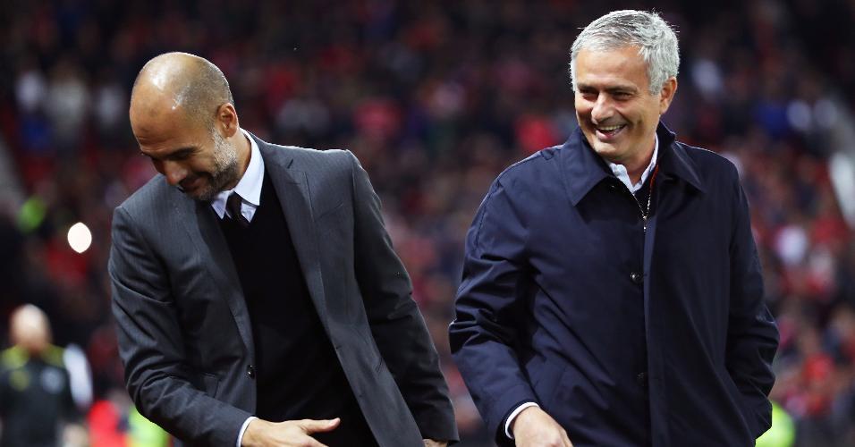 Guardiola e Mourinho atualmente comandam Manchester City e Manchester United, respectivamente