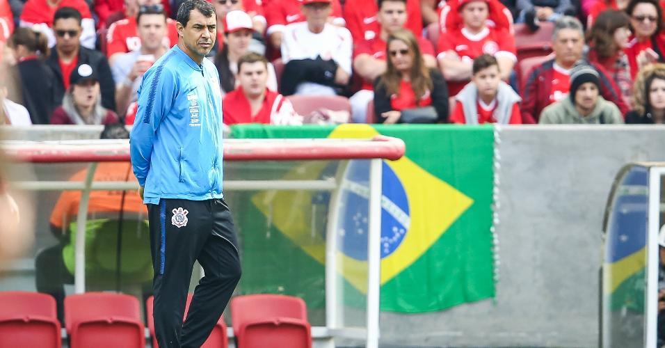 Fabio Carille, técnico do Corinthians, na partida contra o Internacional