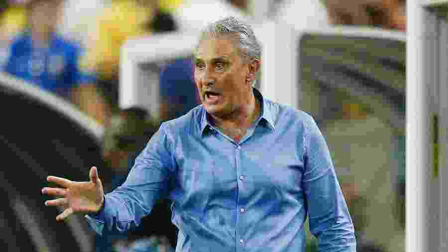 Tite, durante a partida entre a seleção brasileira e a Colômbia, disputada na última semana, em Miami - Michael Reaves/Getty Images