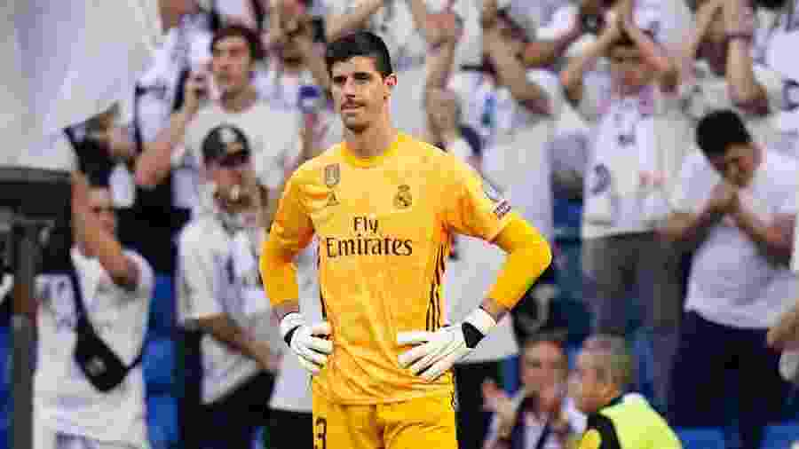 Thibaut Courtois, goleiro do Real Madrid, durante a partida contra o Club Brugge - Quality Sport Images/Getty Images