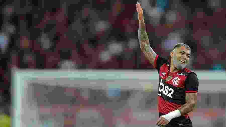 Gabigol celebra gol marcado contra o Independiente del Valle, na final da Recopa Sul-Americana - Thiago Ribeiro/AGIF