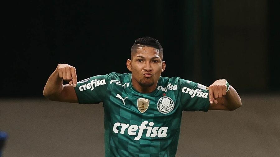 Rony, do Palmeiras, comemora seu gol diante do Independiente Del Valle, pela Libertadores - Cesar Greco