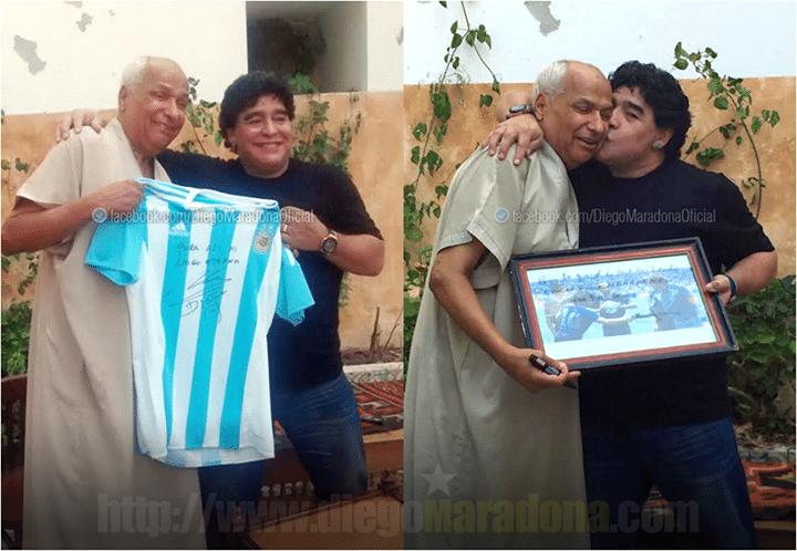 Diego Maradona troca presentes em reencontro com ex-árbitro Ali Bennaceur, responsável pelo jogo Inglaterra x Argentina na Copa do Mundo de 1986