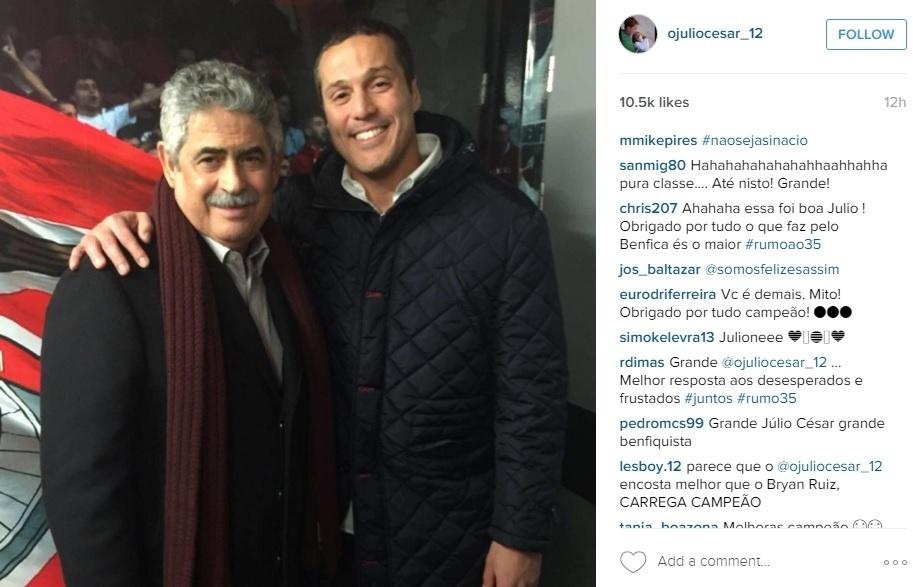 Júlio César postou foto com o presidente do Benfica para negar que tivesse sido afastado pelo clube
