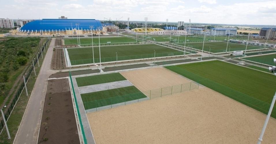 Vista panorâmica do complexo esportivo do Sheriff, que inclui três estádio, um hotel e o centro de treinamento