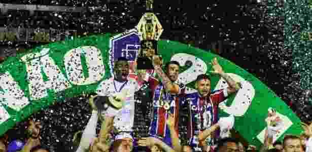 Bahia venceu os dois jogos da final diante do Vitória e voltou a conquistar o estadual - Tiago Caldas/Foto Arena/Estadão Conteúdo