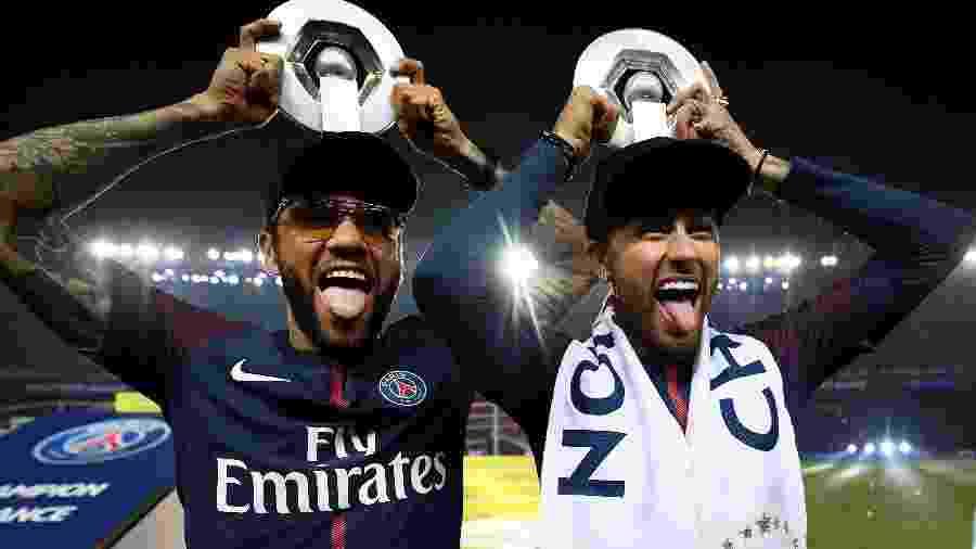 Daniel Alves e Neymar participam da festa de fim de temporada do PSG - AFP PHOTO / FRANCK FIFE