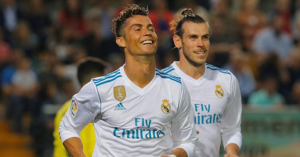 Cristiano Ronaldo e Bale comemoram 2º gol do Real Madrid contra o Villarreal