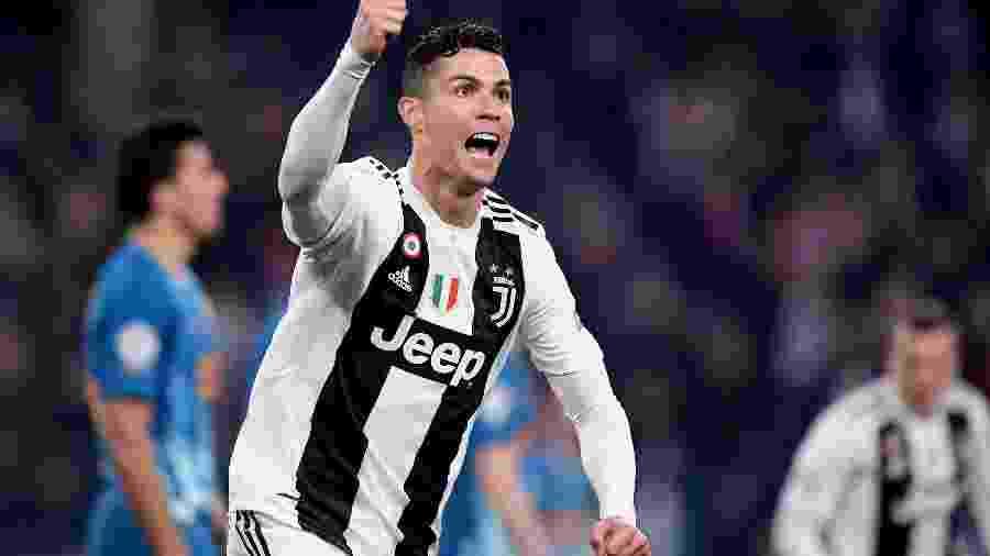 Cristiano Ronaldo comemora o segundo gol da Juventus diante do Atlético de Madri pela Liga dos Campeões 2018/2019 - Alberto Lingria/Reuters