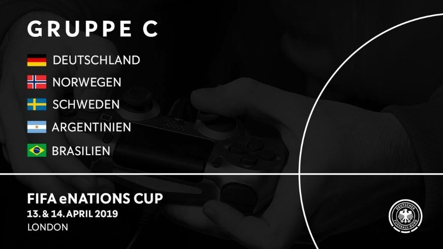 Brasil está no Grupo C Fifa eNations Cup 2019, ao lado de Alemanha, Argentina, Suécia e Noruega - @DFB_eFootball/Twitter