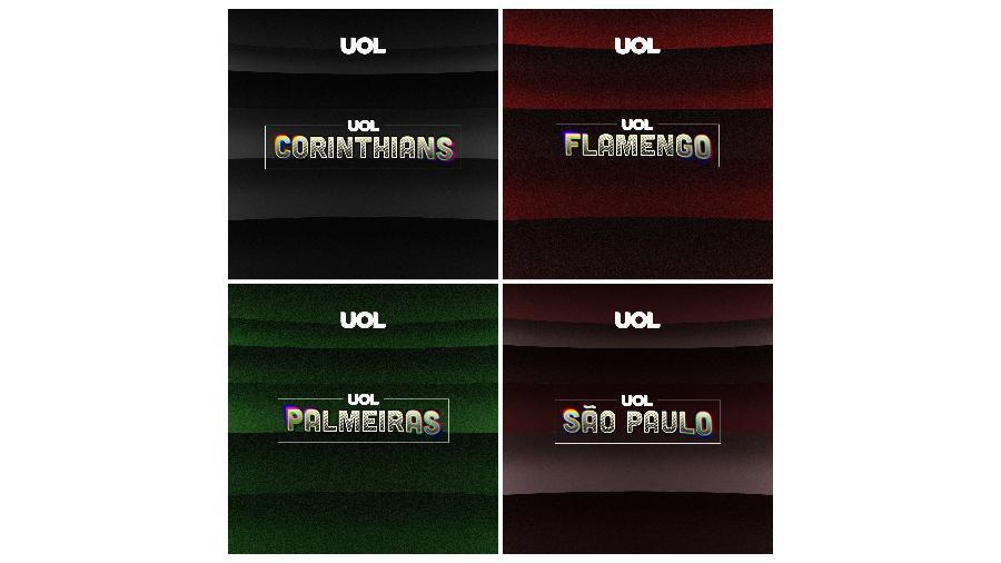UOL lança podcast de quatro clubes: Corinthians, Flamengo, Palmeiras e São Paulo - Arte UOL