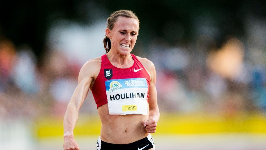 Shelby Houlihan, corredora estadunidense, testou positivo para nandrolona, que é um esteroide anabolizante - JASPER JACOBS / Belga / AFP