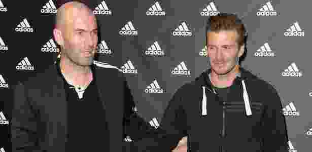 Zidane e Beckham em evento promocional em fevereiro de 2013 - Pascal Le Segretain/Getty Images