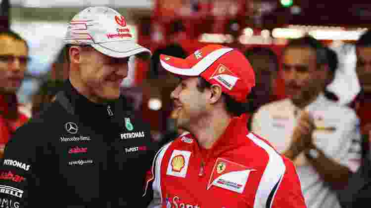 Michael Schumacher e Felipe Massa, no GP do Brasil de 2011 - Mark Thompson/Getty Images - Mark Thompson/Getty Images