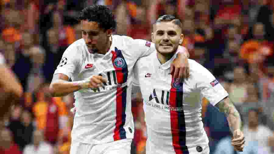 Icardi comemora com Marquinhos após marcar pelo PSG contra o Galatasaray - Umit Bektas/Reuters