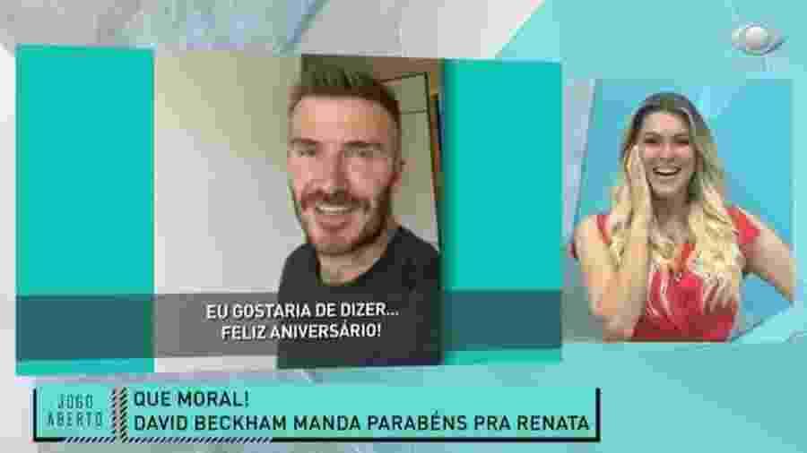 """Renata Fan: apresentadora da Band ganha """"Feliz Aniversário"""" de David Beckham - Reprodução/Band"""