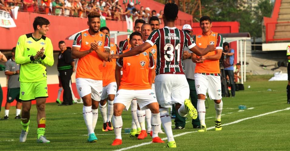 Renato Chaves comemora gol do Fluminense sobre o Figueirense