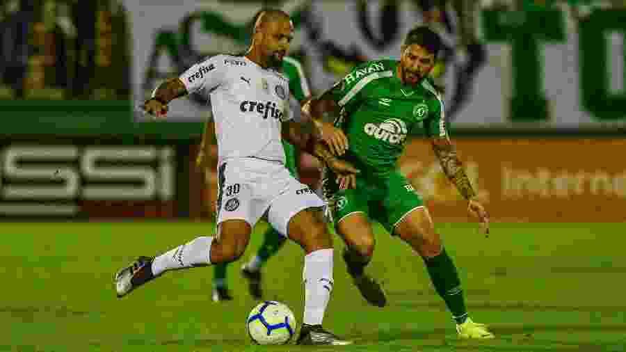Felipe Melo durante partida entre Chapecoense e Palmeiras no primeiro turno do Brasileiro - Ricardo Luis Artifon/AGIF