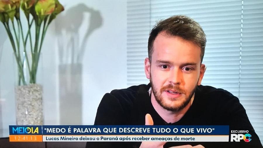 Lucas Mineiro, testemunha no caso de assassinato do jogador Daniel, dá entrevista para a TV RPC, do Paraná - Reprodução