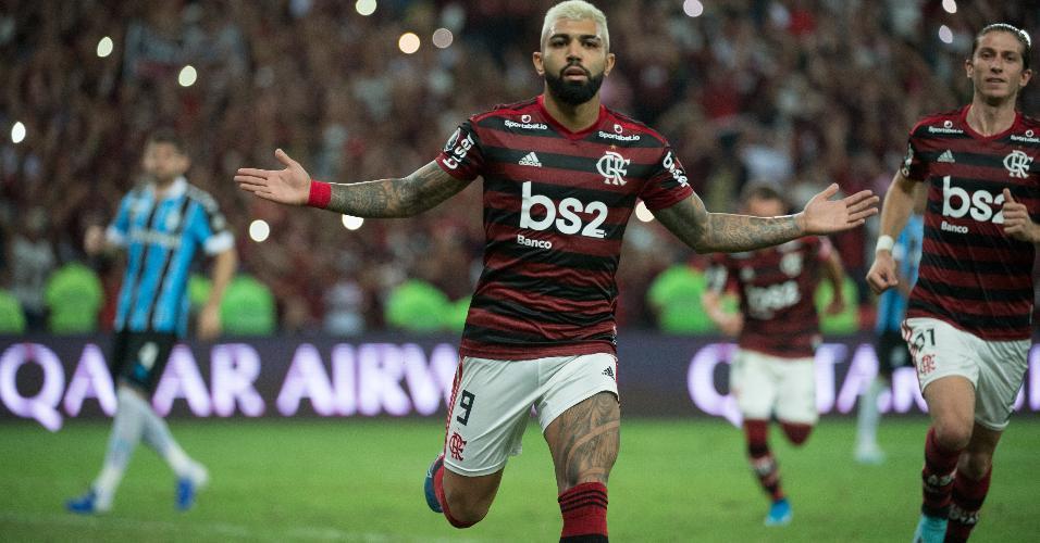 Gabigol comemora um dos gols da goleada do Flamengo por 5 x 0 sobre o Grêmio na Libertadores de 2019