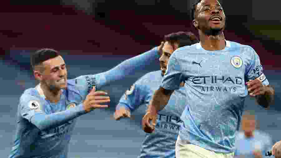 Manchester City, do atacante Raheem Sterling, visita o Sheffield pela Premier League - MARTIN RICKETT