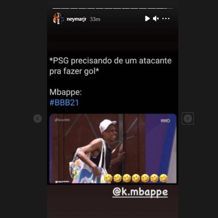 Neymar brincou com semelhança de Lucas Penteado e Mbappé - Reprodução/Instagram