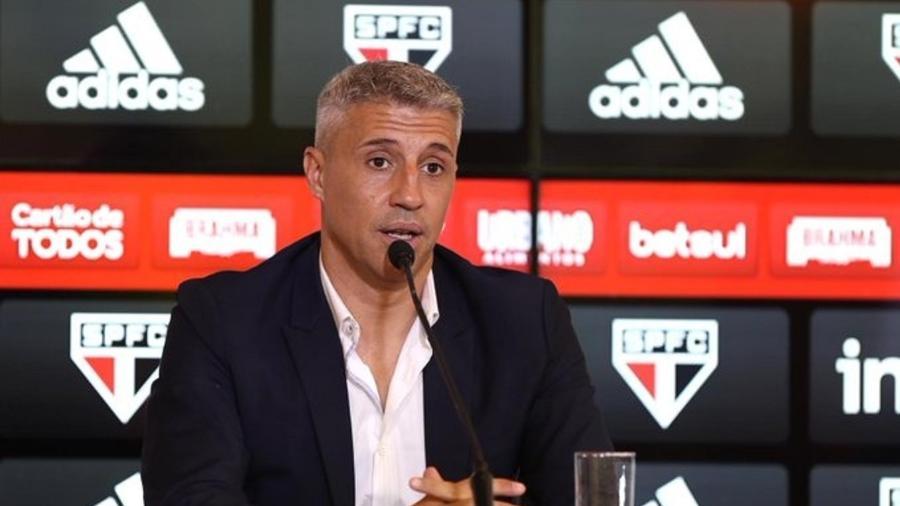 Hernán Crespo, técnico do São Paulo, em apresentação no CT da Barra Funda - Divulgação/São Paulo FC