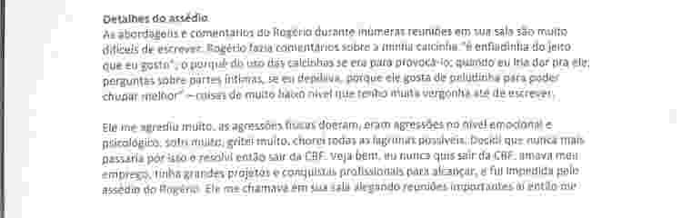 Trecho em que ex-funcionária da CBF denuncia assédio de Rogério Caboclo - 2 - Reprodução - Reprodução