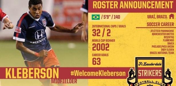 Kleberson foi anunciado pelo clube de Ronaldo Fenômeno