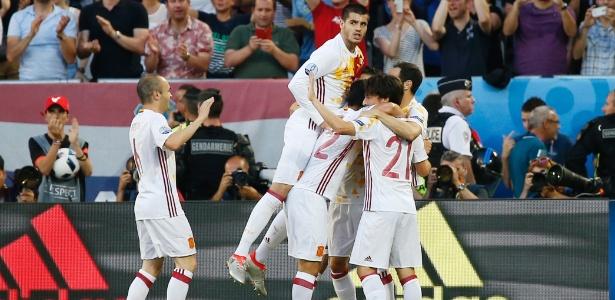 Morata marcou o primeiro gol da partida Espanha e Croácia, nesta quarta