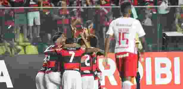 Os jogadores do Flamengo comemoram o triunfo sobre o Internacional - Gilvan de Souza / Flamengo - Gilvan de Souza / Flamengo