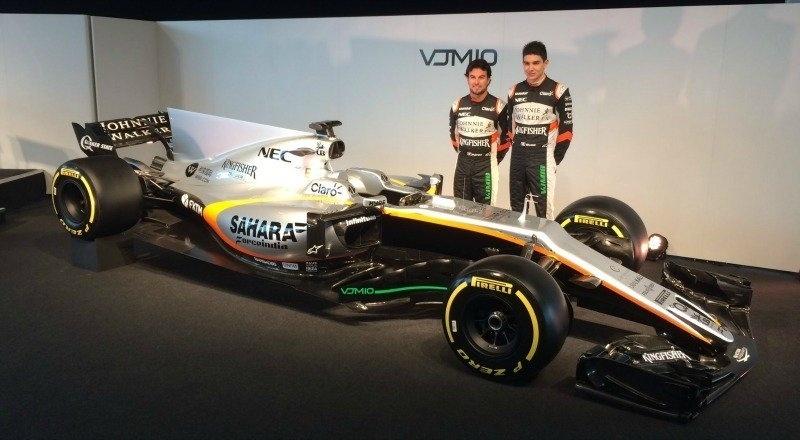 Os pilotos Sergio Perez e Esteban Ocon participaram do lançamento do novo carro da Force India