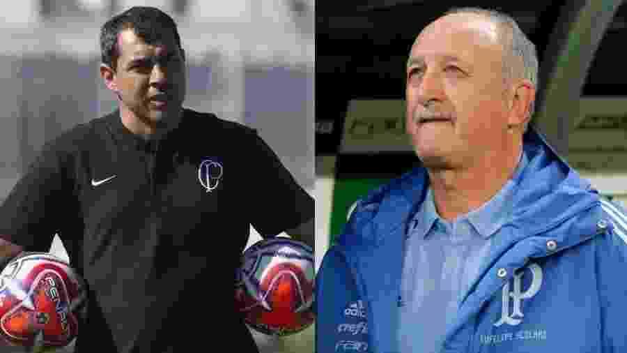 Montagem com fotos de Fabio Carille e Felipão, técnicos de Corinthians e Palmeiras - Daniel Augusto Jr/Ag. Corinthians e Daniel Vorley/AGIF