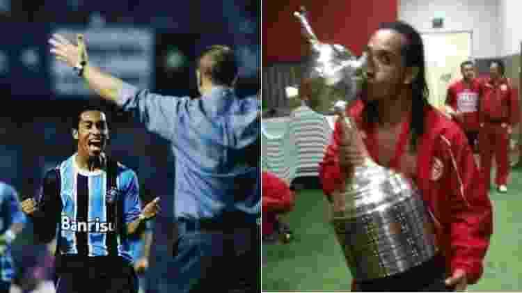 Vice-campeão da Libertadores de 2007 pelo Grêmio e campeão com a camisa do Internacional, três anos depois - Montagem sobre Reprodução/Facebook