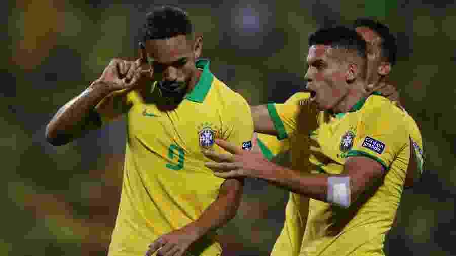 Pré-Olímpico: Matheus Cunha comemora seu gol na partida do Brasil contra a Argentina - REUTERS/Luisa Gonzalez