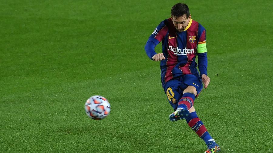 Messi marcou o primeiro gol do Barcelona na vitória por 5 a 1 sobre o Ferencváros - Luis Gene/AFP