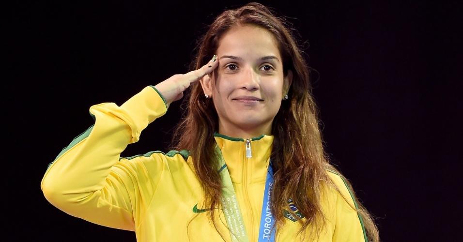 Raphaella Galacho, do Brasil, levou a medalha de bronze na categoria acima de 67kg no taekwondo