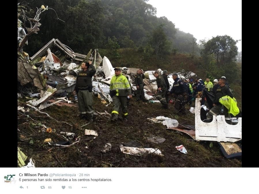 Local onde o avião da equipe da Chapecoense caiu, quando seguia para Medellín, para o primeiro jogo da final da Sul-Americana