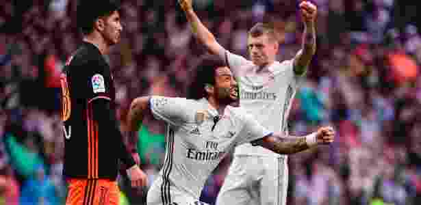 Marcelo comemora o gol da vitória do Real sobre o Valencia - Pierre-Philippe Marcou/AFP Photo - Pierre-Philippe Marcou/AFP Photo