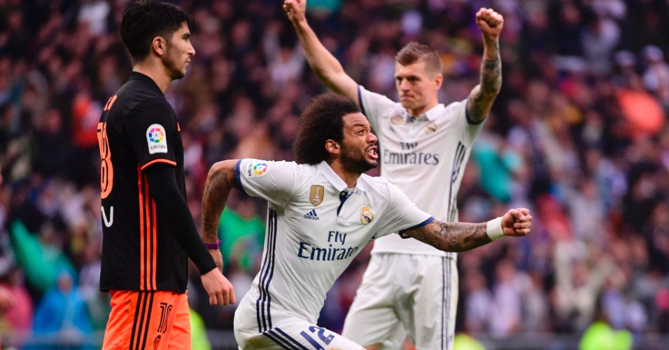 Marcelo comemora o gol da vitória do Real sobre o Valencia