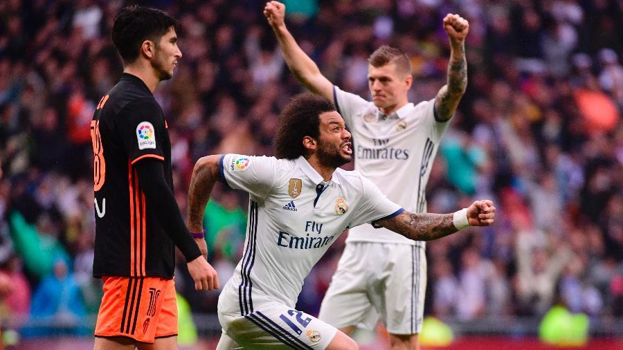 Marcelo comemora o gol da vitória do Real sobre o Valencia - Pierre-Philippe Marcou/AFP Photo