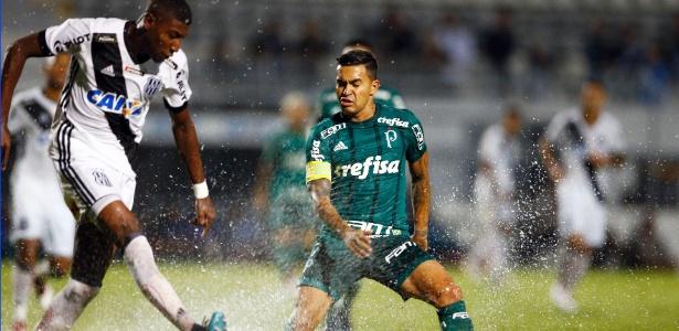 Dudu, do Palmeiras, tenta interceptar passe no encharcado gramado do estádio da Ponte - Thiago Calil/AGIF