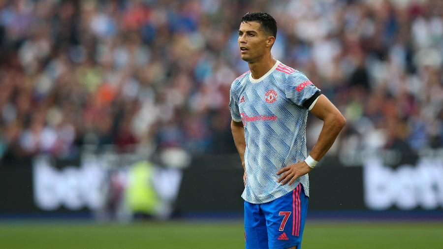 Cristiano Ronaldo na partida entre West Ham e Manchester United pelo Campeonato Inglês - Craig Mercer/ MB Media/ Colaborador/ Getty Images